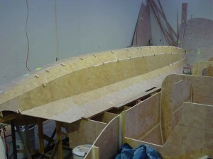 front inboard third of hull filleted