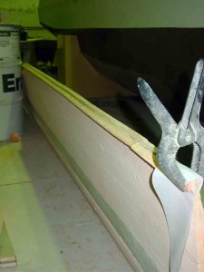 fibreglass batten glued in