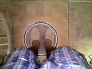 standing on sump lid