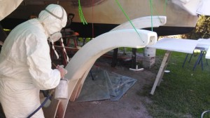 terry-spraying-first-highbuild-coat-on-davits