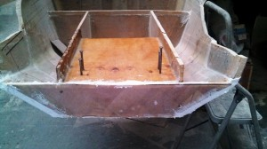 port transom plate glued and glassed