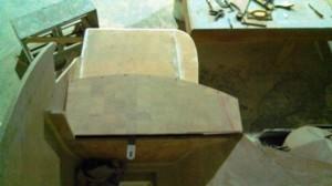 rudder tiller under second bottom step