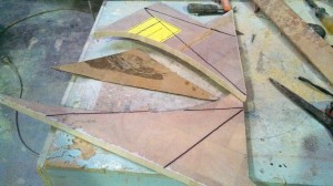 under step filler pieces set out in offcuts