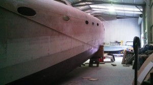 raised stern looking aft