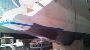 hull extension masked for copper epoxy