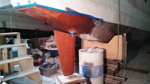 port rudder copper epoxy 1st coat