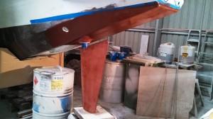 starboard rudder copper epoxy first coat
